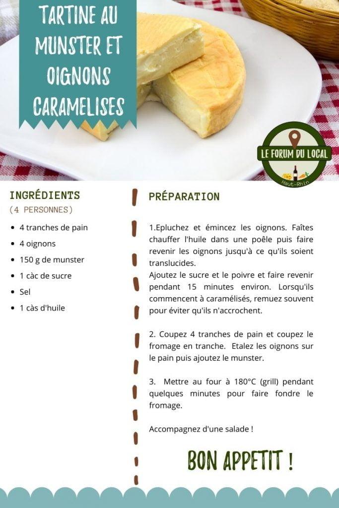 Recette - Tartine au munster et oignons caramélisés